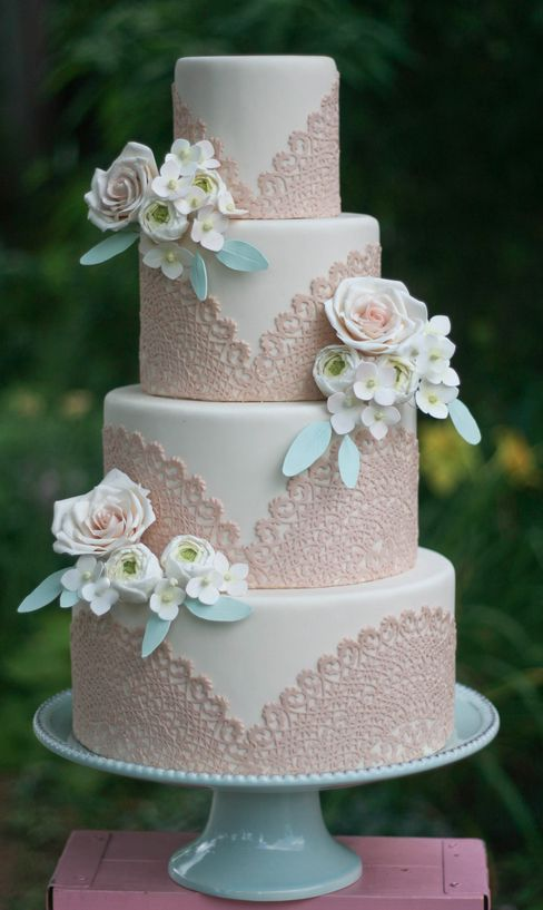 Vintage-Wedding-Ideas-white-and-sand-pink-lace-wedding-cake
