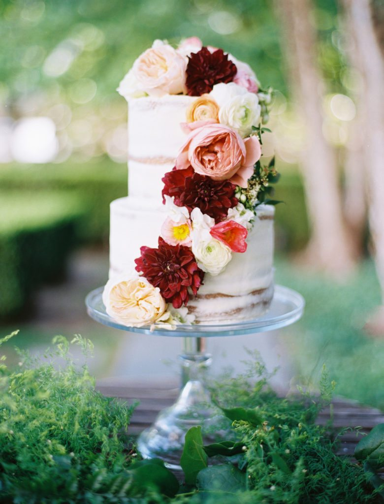 custom-wedding-cake-textured-cascading-flowers-sugarbeesweets